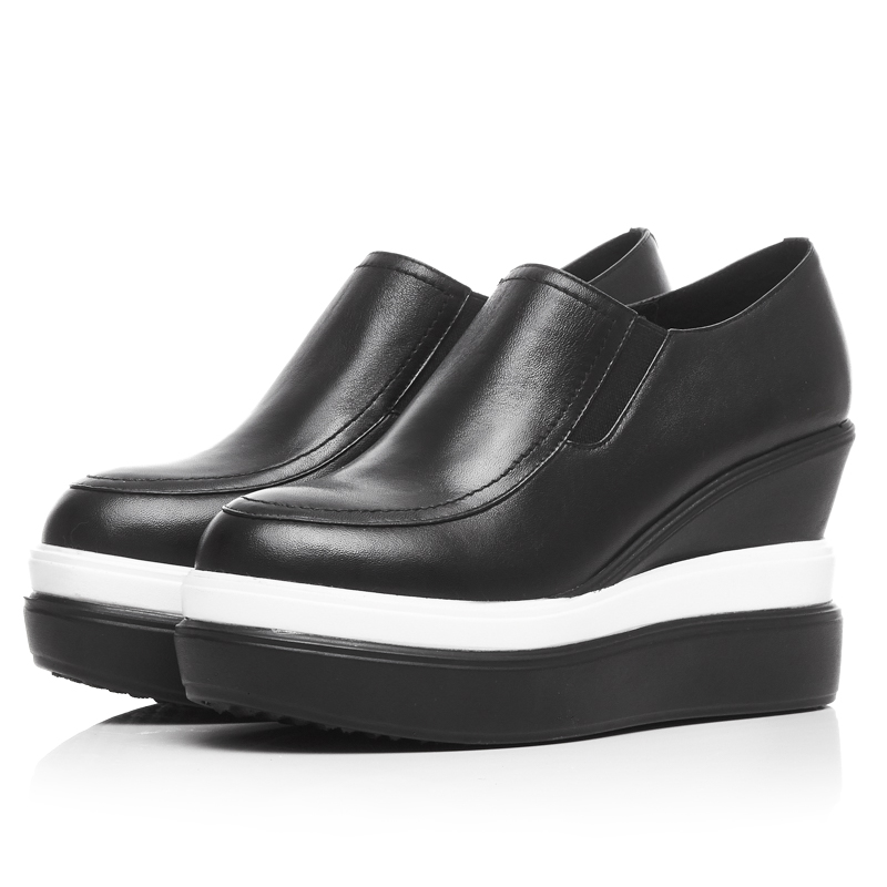 Spring soft genuine full grain leather high platform heels single shoes women 2016 round toe black white mix color casual shoe<br><br>Aliexpress