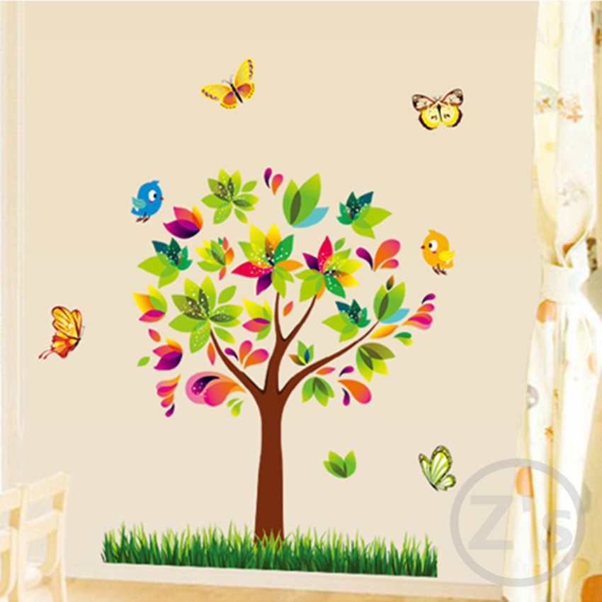 Wall decal cartoon tree wall sticker child role of for Diy mural painting