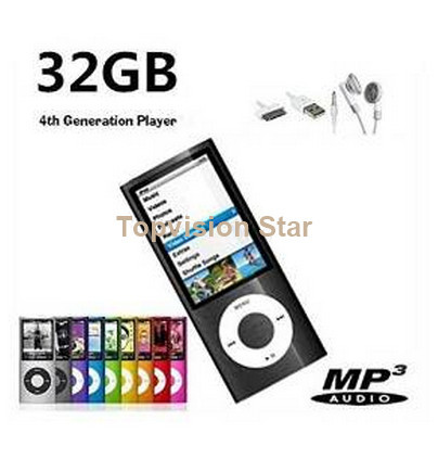 """32GB Black Slim 1.8"""" 4th LCD Mp3 Mp4 Player Fm Radio Video Player with Accessories(China (Mainland))"""