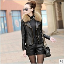 Retail Leather Jacket Women With Fur Collar 2014 Winter New Plus Cotton Thicken Slim Plus Size Motorcycle PU Leather Jacket Coat(China (Mainland))