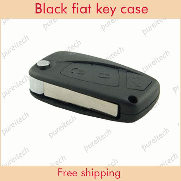 free shipping fiat flip remote key shell replacements 3 buttons car key in black wholesale(China (Mainland))
