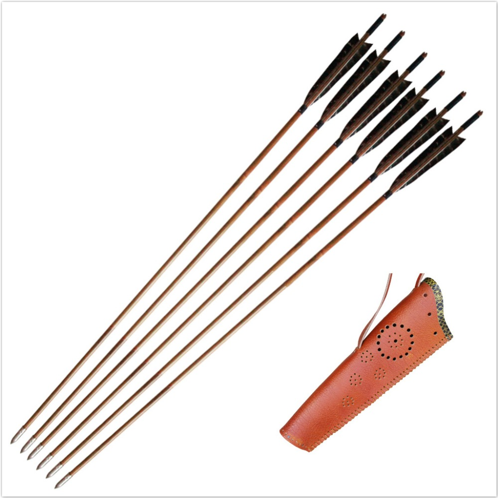 MAYARMS 6pcs Archery Arrows Japanese Hunting Arrows Targeting Arrows Longbow Arrows Eagle Feather Archery Quiver Arrow Case