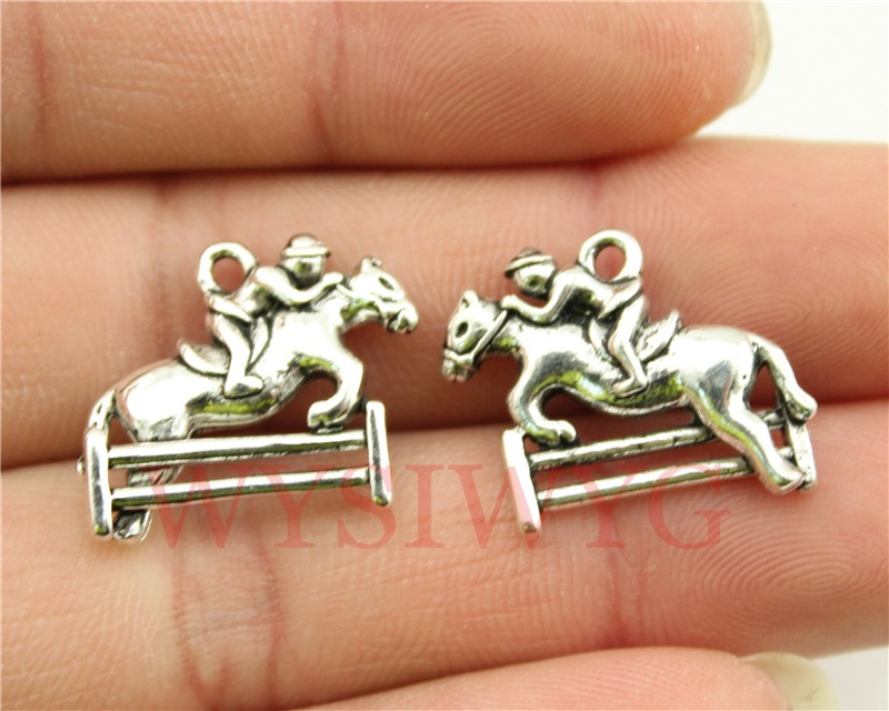 WYSIWYG 3pcs 20*18mm antique silver tone Horse Racing charms(China (Mainland))
