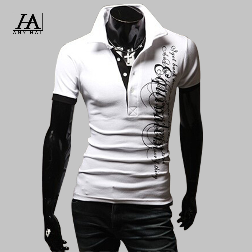 2015 New Fashion Polo Shirt Men Summer Short Letters Printed Sleeve Turn-down Collar Polo Ralph Men Casual Camisa Tee Shirts P08(China (Mainland))