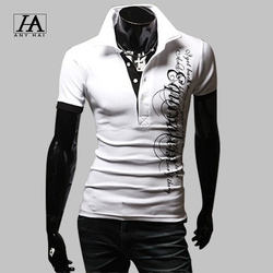 2015 New Fashion polo shirt men summer short letters printed sleeve turn-down collar polo ralph men casual camisas tee shirts