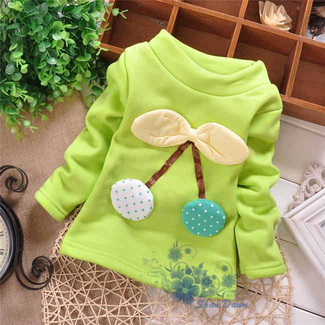 autumn and winter Baby Girls Fleece cute little Cherry fashion thick bottoming shirt,warm Hoodies,0-3 old years,V437/V1509(China (Mainland))