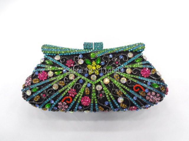 8248A Crystal Flower Floral Bridal Party hollow Metal Evening purse clutch bag handbag case