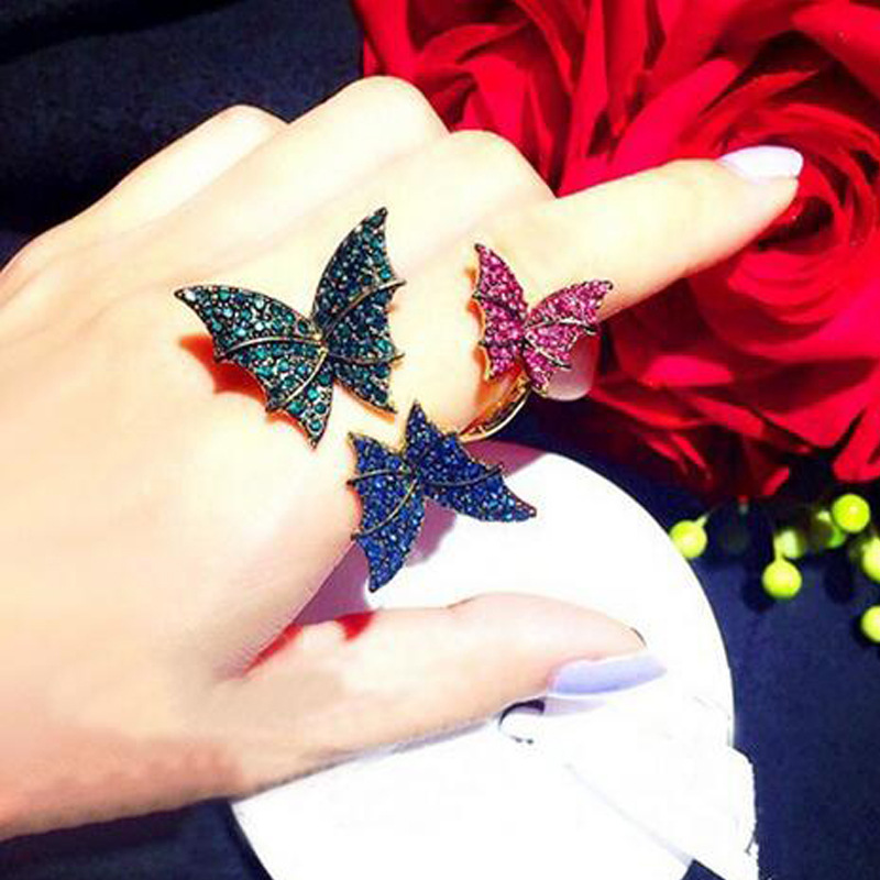 2016 New Colorful Crystal Butterfly Ring Korea Brand Statement Rings Fashion Magazine Jewelry for Women(China (Mainland))