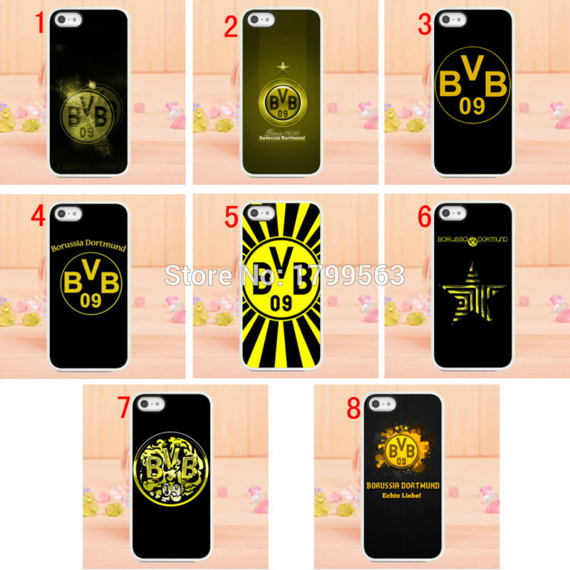 Hot 8pcs/lots Borussia Dortmund football club hard White Skin case cover for iphone 5 5s 4 4g 4S 5c Wholesale+free shipping(China (Mainland))