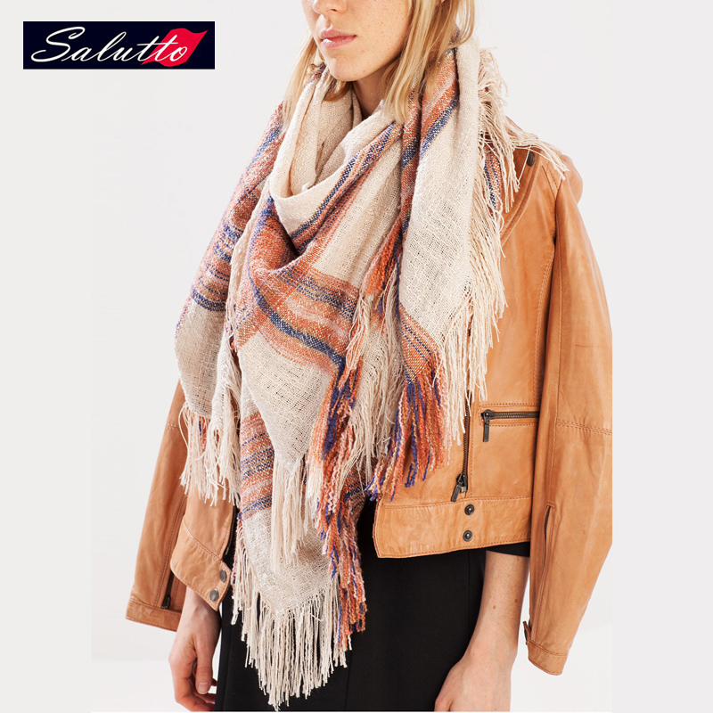 SALUTTO 2016 New Fashion Scarf For Women Colored Stripes Tassels Big Size Scarves Square Cape European Style Sjaal Designer(China (Mainland))
