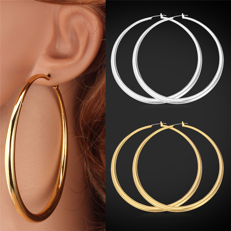Big Earrings Hot Sale 18K Real Gold Plated Simple High Quality Basketball Wives Fashion Jewelry For Women Hoop Earring E6391(China (Mainland))