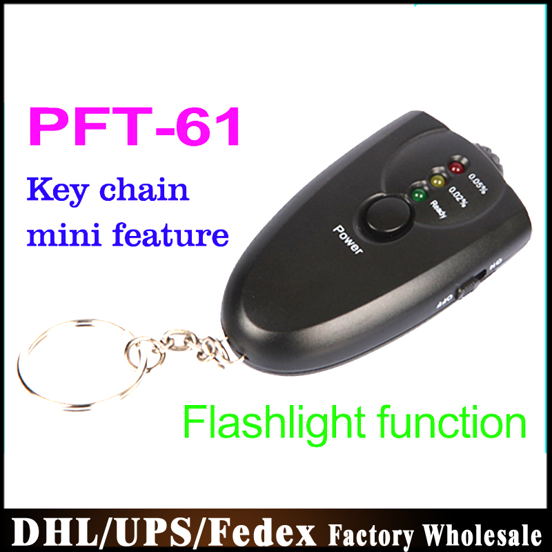 DHL Fedex UPS100PCS/lot LED Alcohol Tester Keychain Analyzer Breath Breathalyzer PFT-61 keychain torchlight(China (Mainland))