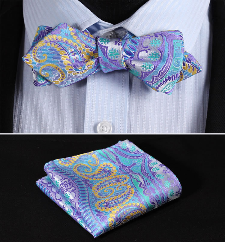 JF401B Blue Yellow Paisley Floral Silk Men Diamond Point Tip Self Bow Tie Pocket Square Handkerchief Hanky Suit Set - HISDERN store