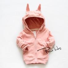 2015 new Autumn&spring cartoon rabbit Children Outerwear vestidos hooded girls boy sweatshirt kids clothes,moleton infantilfree(China (Mainland))