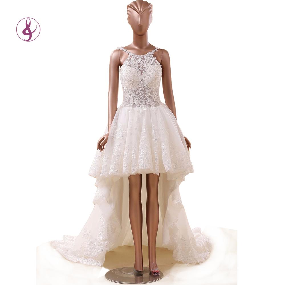 Wedding dresses long train short front cheap wedding dresses for Short wedding dress with long train