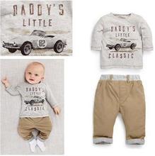 hot sale 2015 baby clothing boys sets new European car map printed long sleeved t shirts