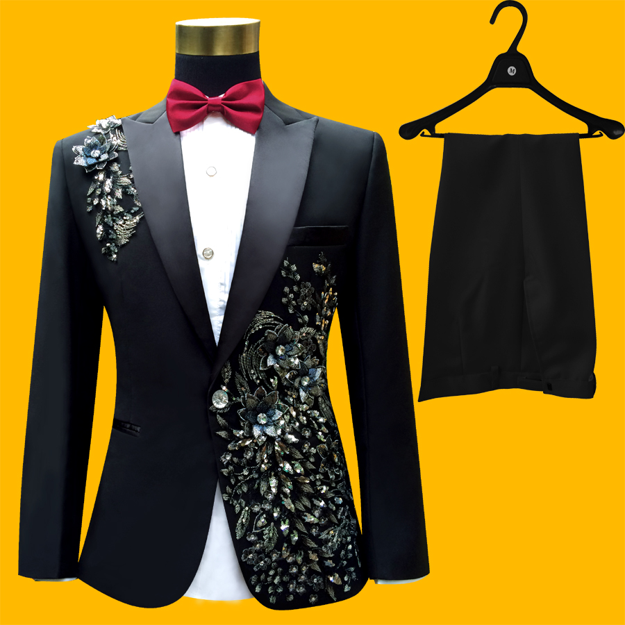 2016 Plus Size Men Suits S-4XL Fashion Black Sequins Embroidered Male Singer Slim Performance Party Prom Costumes Jacket+Pants(China (Mainland))
