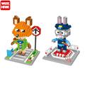 New Hot Movie Zootopia The Rabbit Judy Hopps Fox Nick Model Educational Brick Building Block DIY