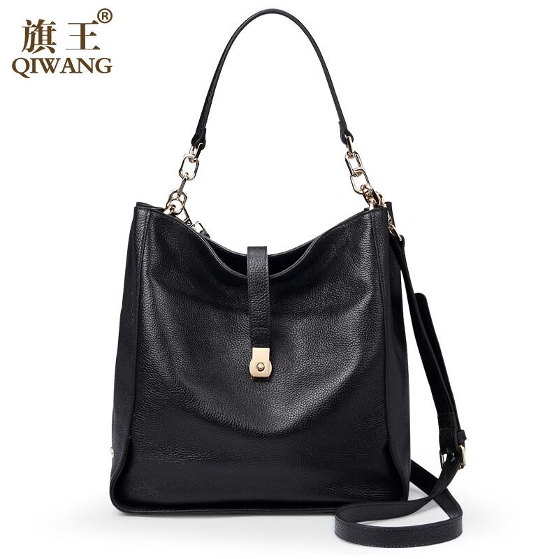 Фотография QIWANG Brand Women Handbags High Quality Genuine Leather Bag Fashion Wild Shoulder Women Bag Cowhide Bucket Totes Messenger Bags
