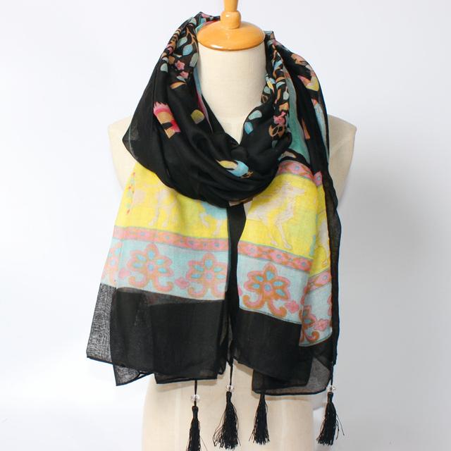 2016 новое поступление зима мода женщин высокое качество фирменный стиль дерево и животных лошадь печатных размер шали мода шарфы