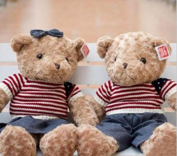 1 piece 2015 NEW STYLE 40CM Stuffed Soft Plush Toys Teddy Bear cowboy clothing teddy bear Children's Gifts Factory plush toys(China (Mainland))