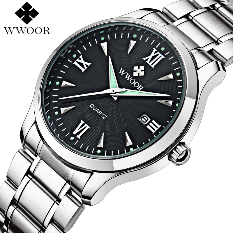 Top Brand Men's Casual Quartz Watch Men Luminous Hour Date Clock Silver Stainless Steel Fashion Sports Wrist Watch Male Relogio