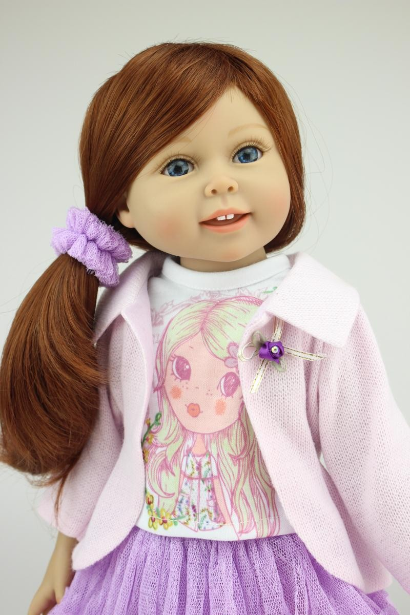 18inch 45cm Vinyl Princess Girl Doll Silicone Reborn Baby Doll with Clothes Beauty Girl Doll Similar As American Girl Doll Gifts(China (Mainland))