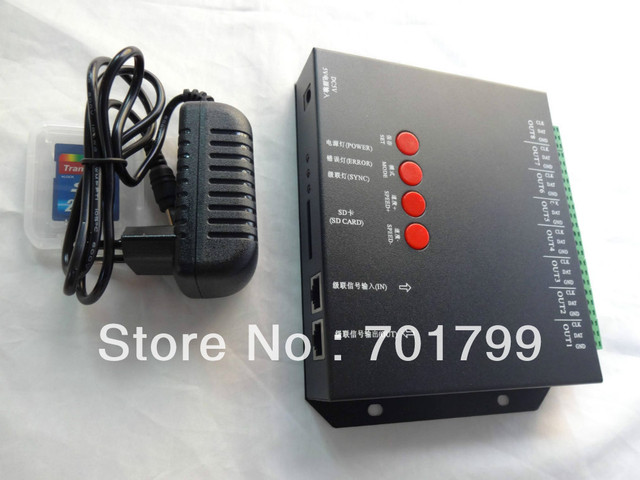 8 port off-line T-8000C led sd card pixel controller,SPI(TTL)signal output,can control max 1024*8ports=8192pixels