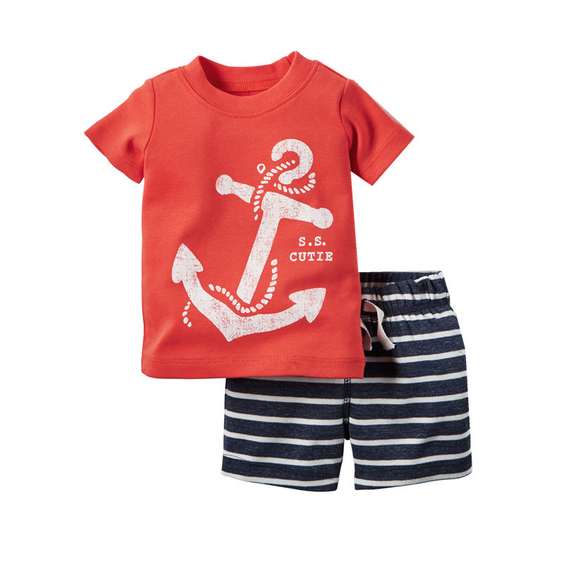 2016 Baby Boy Clothes Sets Summer Short-Sleeve Cartoon T-Shirt + Striped Pant Kids Clothes Boys For Toddler Boy Clothing Sets