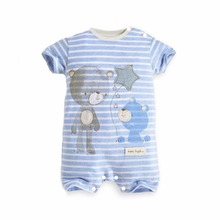2016 Girl Baby Clothing Boy Kid Short Sleeve infant Striped Romper Jumpsuit