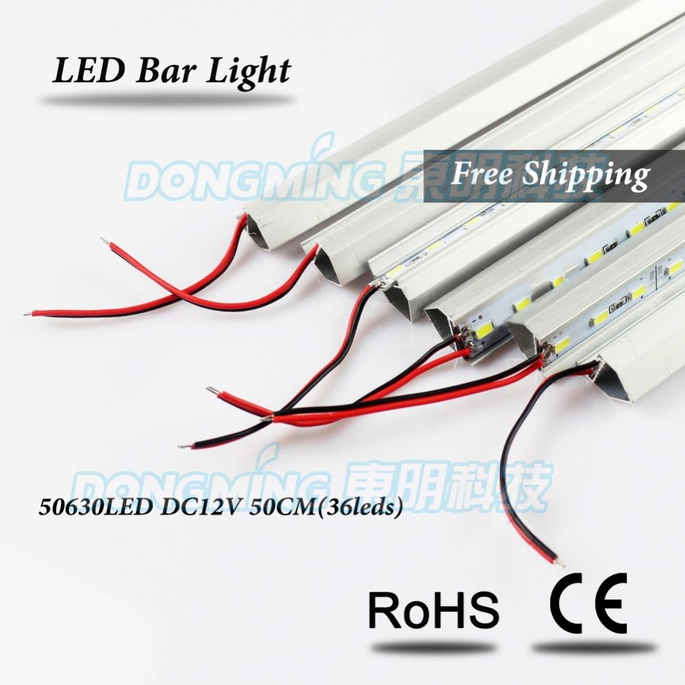 6pcs U/V profile Non-waterproof White/Warm White 12V 50cm 36 led rigid strip light, led rigid bar light, led rigid strip 5630(China (Mainland))