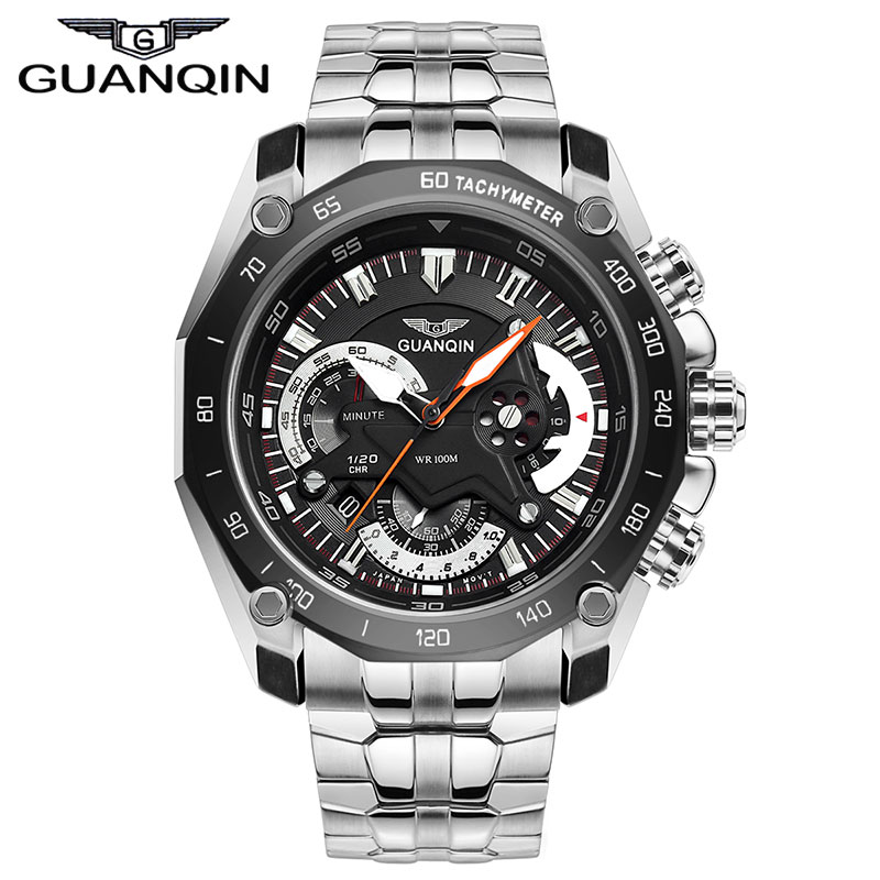 New GUANQIN 100 m waterproof eye movement quartz fine steel timing outdoor leisure men's luxury brand fashion watches(China (Mainland))