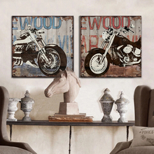 Vintage Harley motorcycle canvas wall art modern home decor painting the living room office picture Street art graffiti Cafe Bar(China (Mainland))