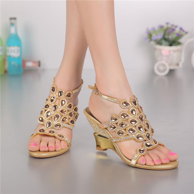 Summer Diamond Leather Peep Toe Wedge Sandals Ladies High Heeled Elegant Luxury Shoes Uk High Quality Big Size(China (Mainland))