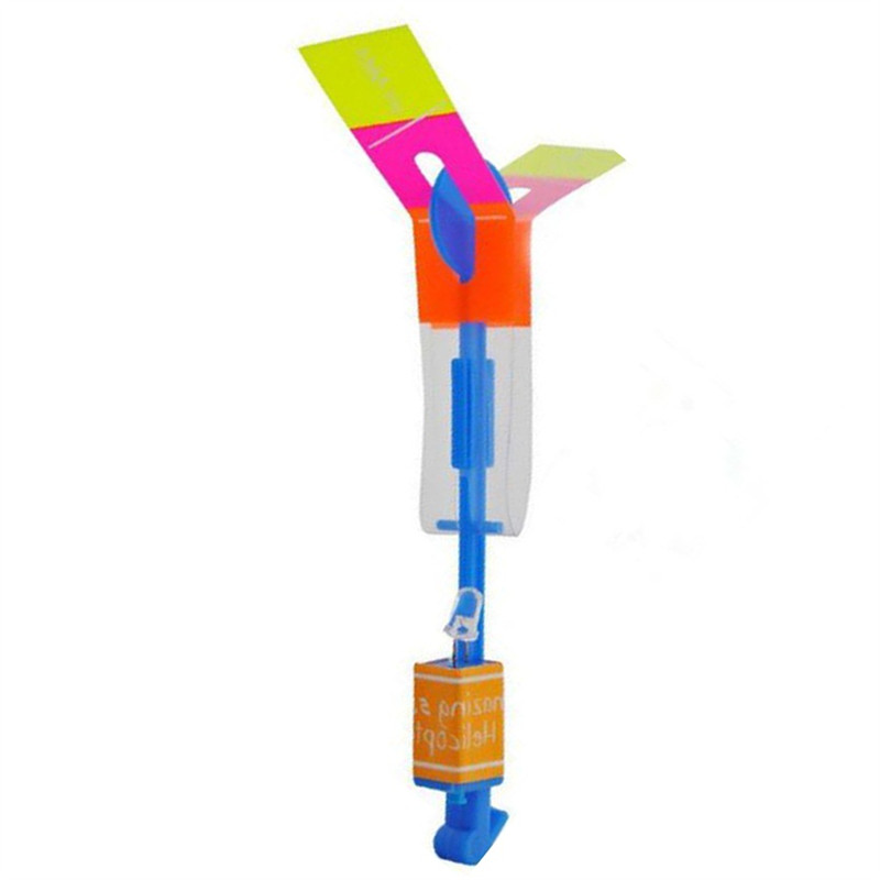 1pcs New LED Light Helicopter Flying Rocket Rubber Band Sling Shot Arrow Toy Drop Shipping Wholesale