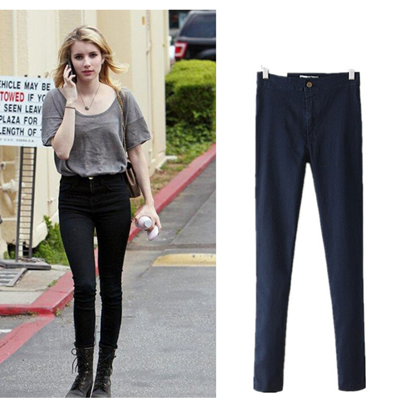 Hot Sell New Fashion Jeans Women Pencil Pants 5-color Jeans high waist Slim Elastic Skinny Pants Trousers Fit Lady Jeans,MY1217(China (Mainland))