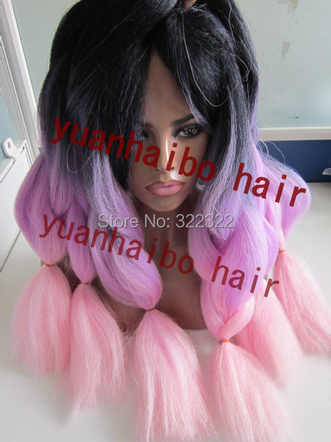 stock! Top Selling black/purple/pink  three tone color 6 pieces/lot ombre kanekalon braids synthetic hair free shipping<br><br>Aliexpress