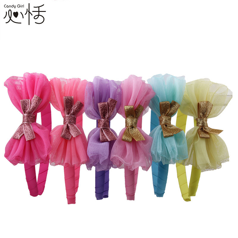 Original Design 2015 Girl headband Brand new Top quality Chiffon Sequins Bow Hair bands for girls Good price hair accsessory(China (Mainland))