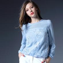 Europe Women Embroidered Lace Chiffon Shirts 2016 Aliexpress Uk Long Sleeve Plus size Women Lace Blouses Blusas Femininas 51135(China (Mainland))