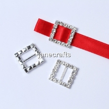 50pcs/Lot 15mm Square Stunning Clear Rhinestone Metal Buckles Ribbon Slider For Belts/Bags/Wedding Decoration(China (Mainland))