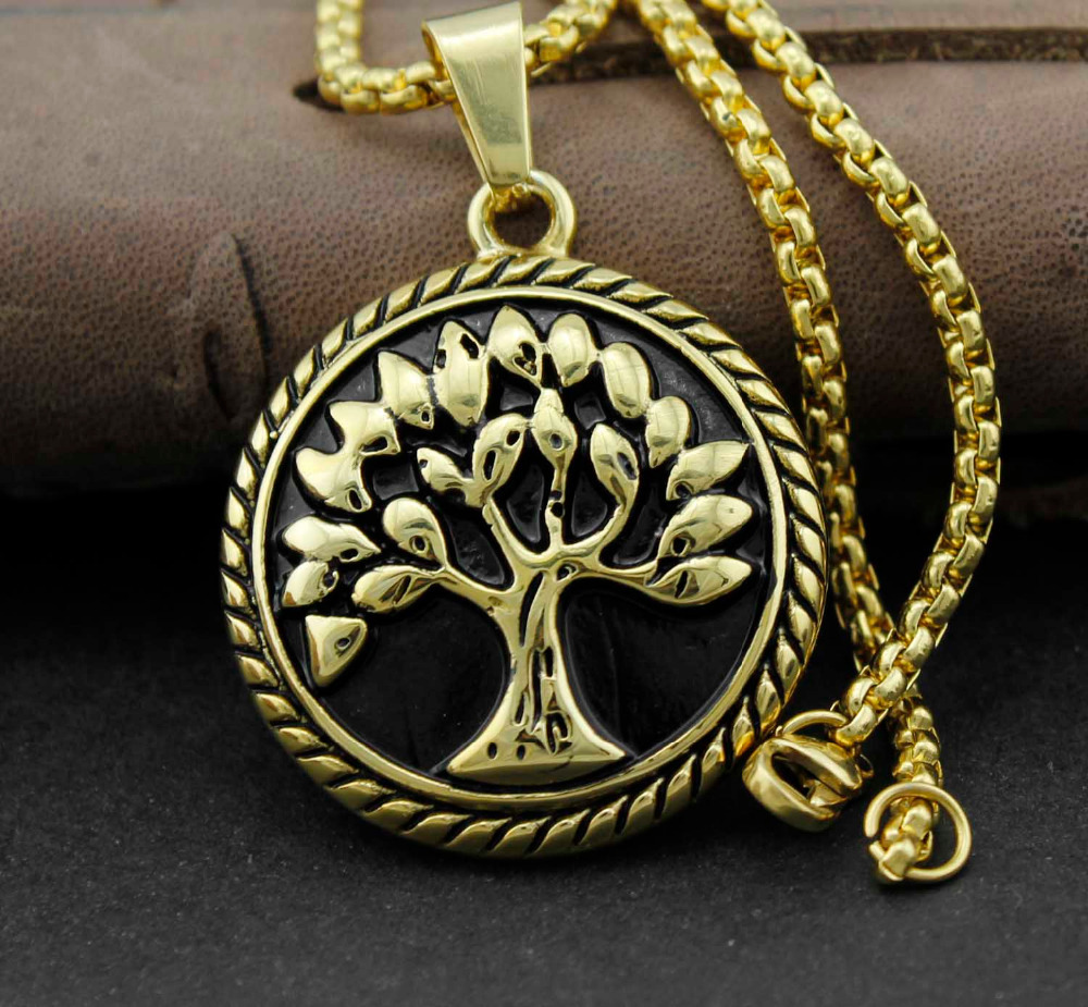 Gold Stainless Steel Celtic Tree Of Life Pendant Necklace Chain Jewelry(China (Mainland))