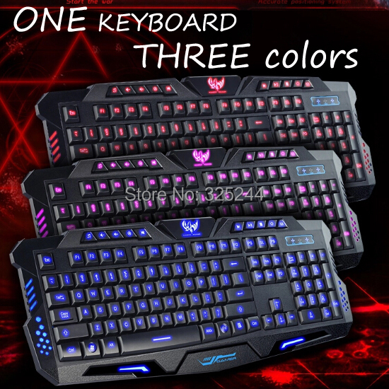 Super Cool Fashion 3 Colors Switch Luminous Backlight Wired Waterproof USB Gaming Keyboard++Tracking NO. - Sunshine Trade (Shenzhen store Co.,LTD)