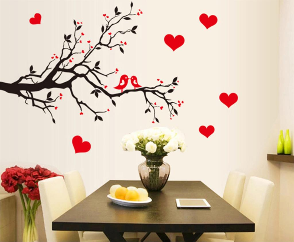 Fashion red love heart wall stickers home decor life tree for Cute home accessories