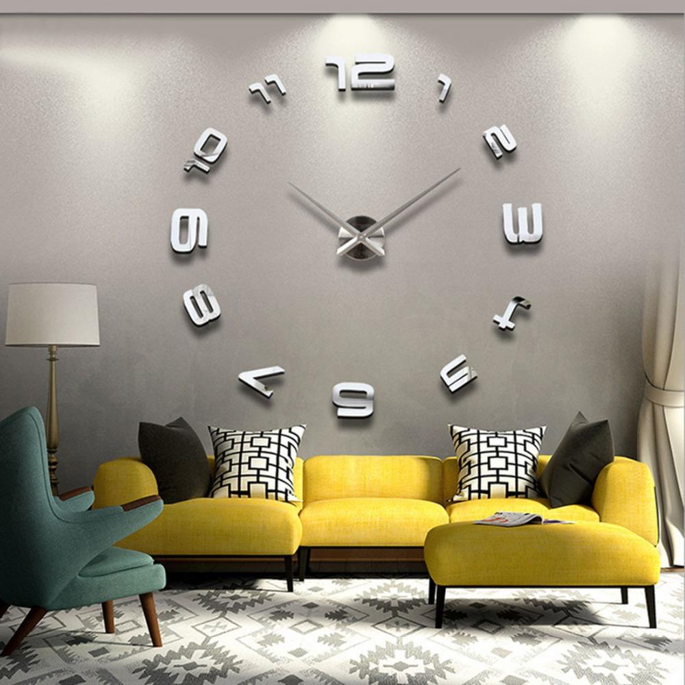 Oversized Wall Clock 100cm Arabic Numbers Modern DIY Frameless Quartz Watch 3D Large Big Mirror Surface Effect