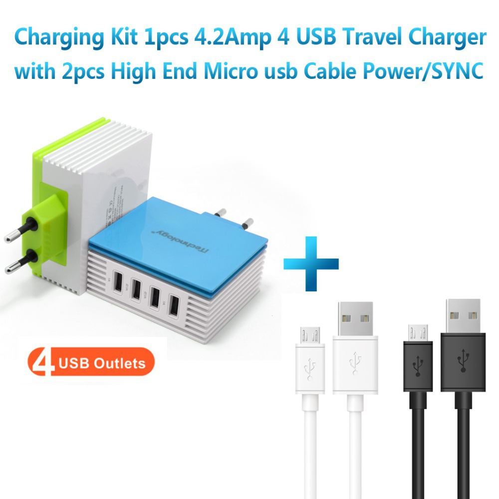iTechnology 4.2A usb AC Charger EU Plug 4 Port usb travel charger with 2pcs 1M High End Hi-Speed Micro USB Cable Power/SYNC(China (Mainland))