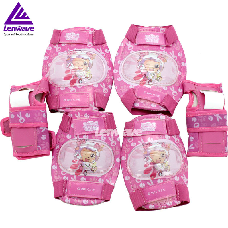 Cartoon Knee Support Elbow Brace Care Palm Set Kids Skateboard Extreme Outdoor Sports Safety Elbow Knee Pads Support(China (Mainland))