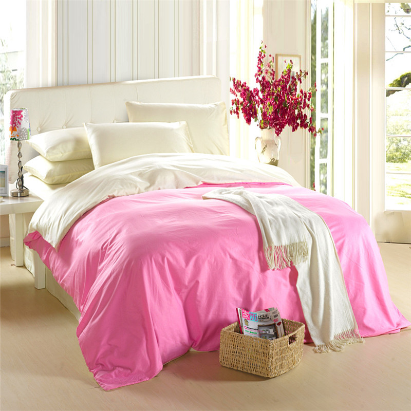 Buy solid color bedding set queen king - Pink and yellow comforter ...