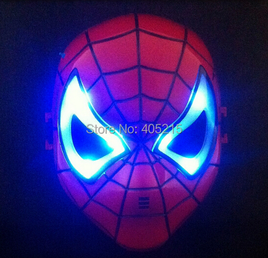 Best selling party batman mask with light factory direct Spider man mask Halloween masquerade party mask for children(China (Mainland))