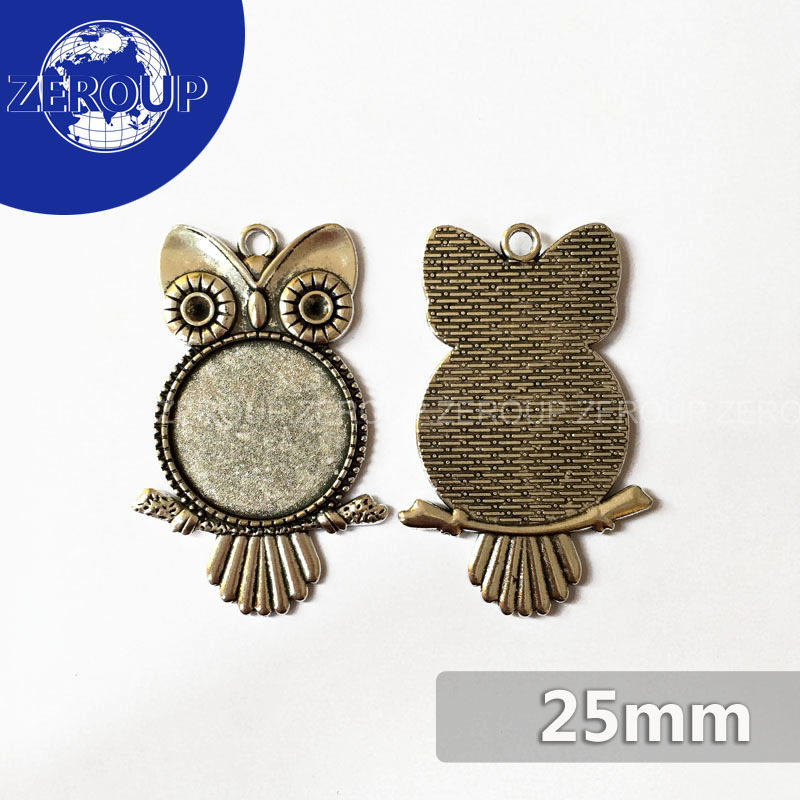 20pcs/lot DIY Flat Back Jewelry Finding fit 25mm Round Glass Cabochon Antique Bronze Silver Gold Owl Shape Pendant Tray MC-141(China (Mainland))
