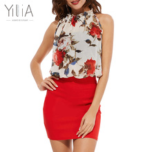 Buy Yilia Summer 2017 Rose Floral Chiffon Dress Women Dresses Vintage Bodycon Vestido Sexy Sleeveless Halter Red Black Party Dresses for $9.99 in AliExpress store